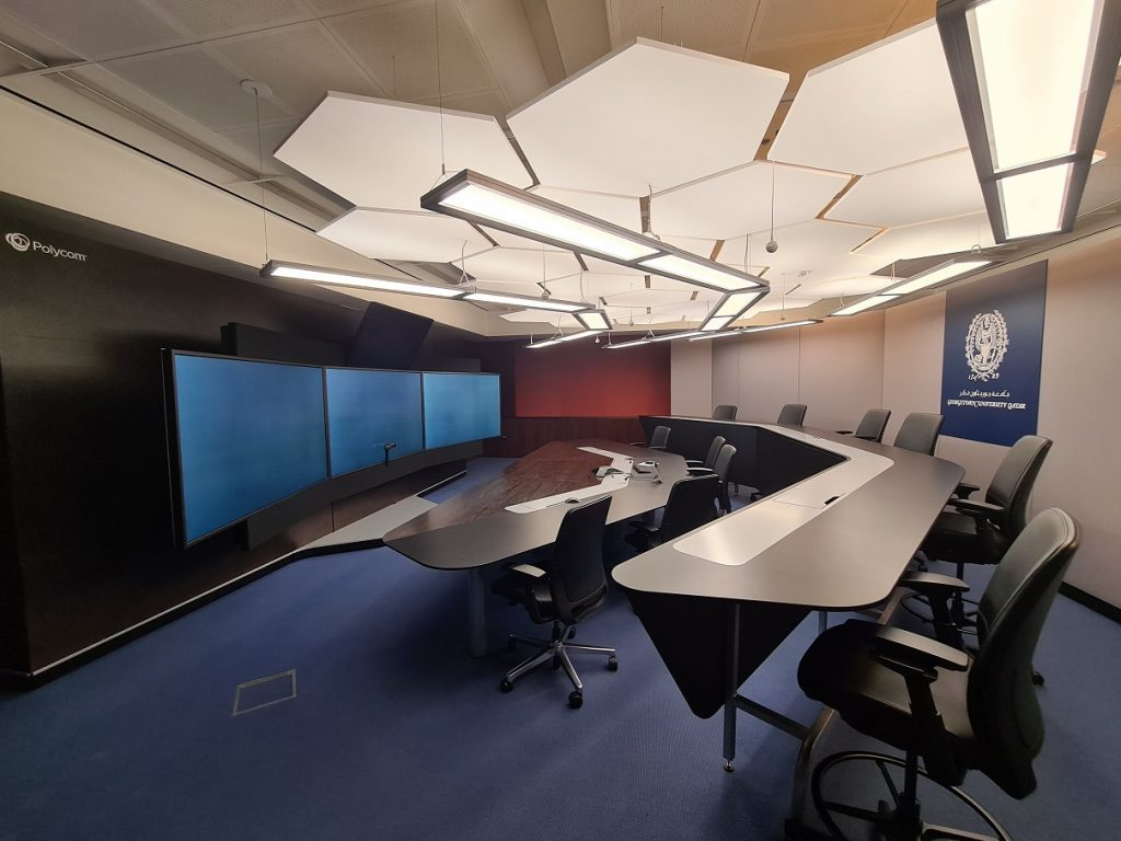 Desks and chairs in the RPX (RealPresence Immersive Studio Flex) classroom