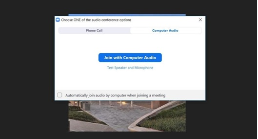Image showing the prompt to listen with an audio device when joining a Zoom meeting