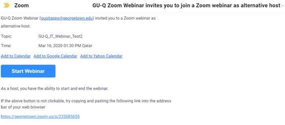 Image showing an email invitation from Zoom