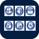 Icon for audio visual technology that when clicked will open the page for audio visual technologies at GU-Q