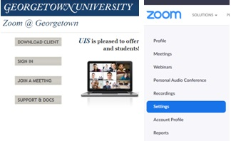 Image showing the Georgetown website for Zoom and the Zoom website for settings