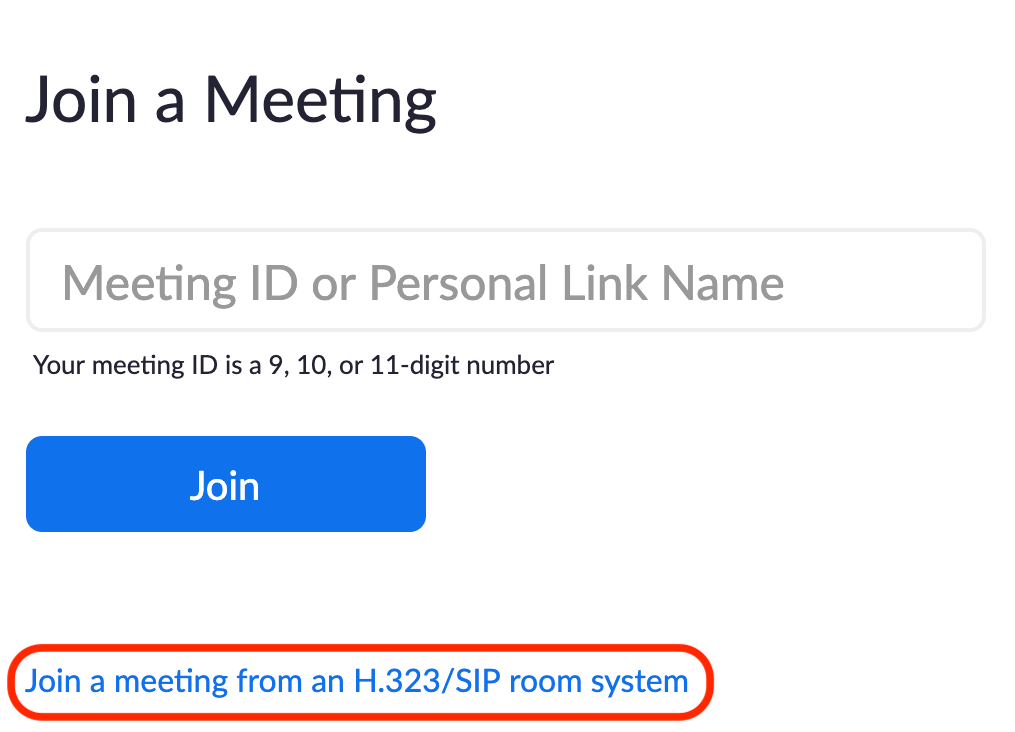 Image highlighting the option to join a meeting from a room system