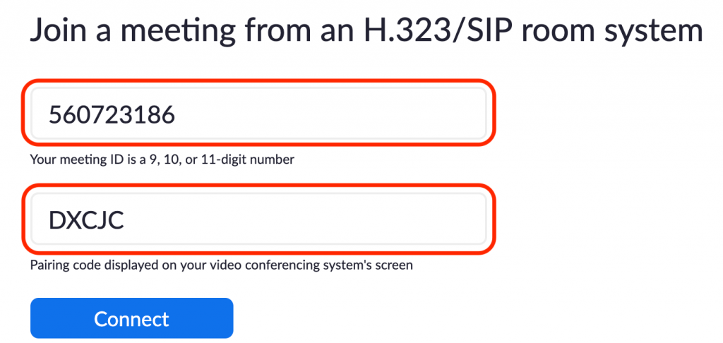 Image highlighting the way to join a Zoom meeting from a H.323/SIP room system